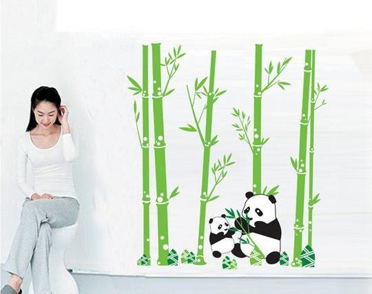 Removable Panda Bamboo Wall Decal Panda Wall Decal Nursery