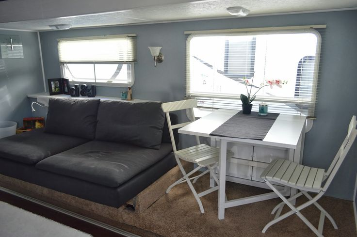 Traveling Triads: Travel Trailer Remodel Reveal!      LOVE the smokey blue walls!
