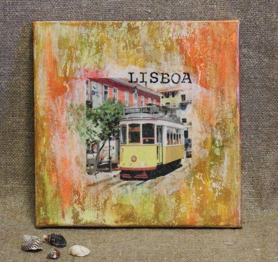 Die Nacht von Lissabon Wandbild Dekoration Leinwand