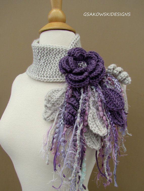 Lavender Flower Scarflette by gsakowskidesigns on Etsy