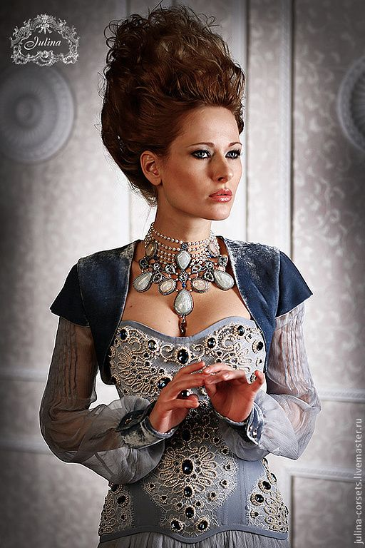 """Купить Корсетное платье """"Королевская Охота"""" - голубой, королева, эксклюзив, кутюр, корсет, корсет вечерний"""
