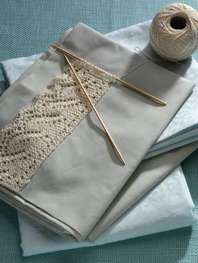 On my list of things to do.  Knitted lace pillow case trimI