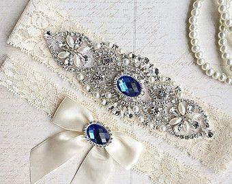 Royal Blue Wedding Garter Bridal Garter Set by MadeForHerCouture