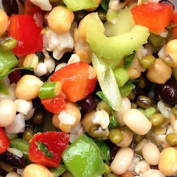 """on Instagram: """"Mixed bean salad with red & green peppers, celery, barley, green onion in a lemon herb vinaigrette…"""""""