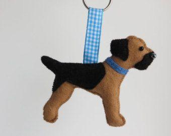 Hand sewn Schnauzer dog felt keyring by MisHelenEous on Etsy