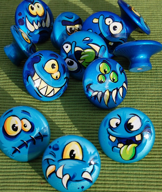 Playful Hand Painted Childrens Drawer Pull Knobs By