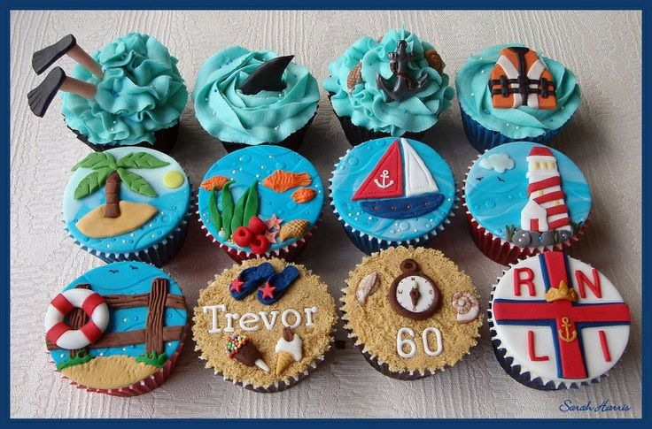 Nautical themed cupcakes