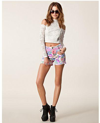 Hoge   gebloemde korte broek