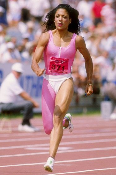Some Olympic style inspiration: Flo-Jo in an electric neon pink suit!
