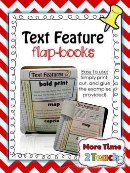 Are you looking for a FUN and INTERACTIVE way to help your students learn and practice identifying Text Features? If so, then this just might be the resource you've been looking for.  With this download you will receive the following: -6 separate flap books focusing on 18 different text features.  *bold print *map *caption *heading *photograph *italic print *bullets *illustration *glossary *diagram *graph *index *pronunciation guide *sidebar *table of contents *table *timeline *hyperlink  -4…
