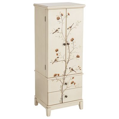 Arbor Jewelry Armoire - sweet and whimsical hand-painted bird-and-branch motif, plus more.  A beautiful addition to a bedroom or even a quaint sitting / drawing room area!