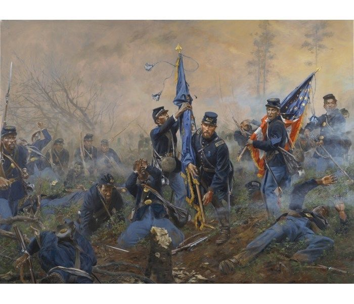 """""""Three Medals of Honor Battle of New Market Heights"""" Don Troiani. Fought in Sept. 1864"""