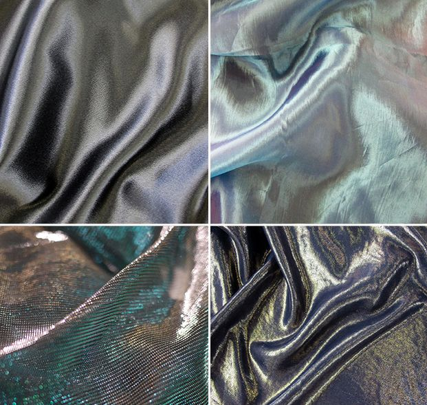FABRICS: High-shine satins, glossy synthetics and iridescent micro-mesh fabrics are adapted for a glamorous, poolside elegance or sport-inspired direction. Found on WGSN S/S 16 Textile Forecast: Deep Summer