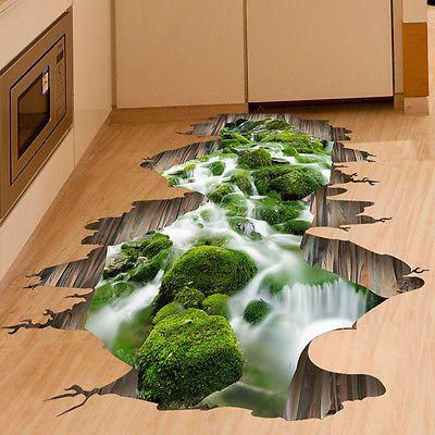 3D мост поток пол стены стикер съемный Винил наклейки роспись искусства комнаты украшения