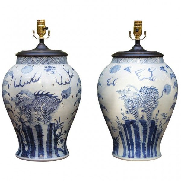 pair of blue and white jar lamps - Ginger Jar Lamps