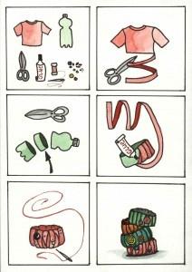 Van een plastic fles en restjes stof of wol een armbandje maken.