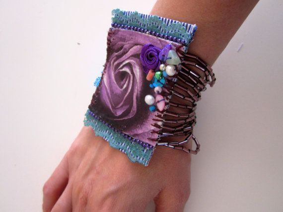 Christmas Bracelet Gift Fabric cuff by catyflowerpower on Etsy