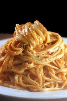 Creamy Tomato Alfredo Linguine. My most requested sauce. San Marzano tomatoes, garlic, cream, cheese! YUMMMMMO!