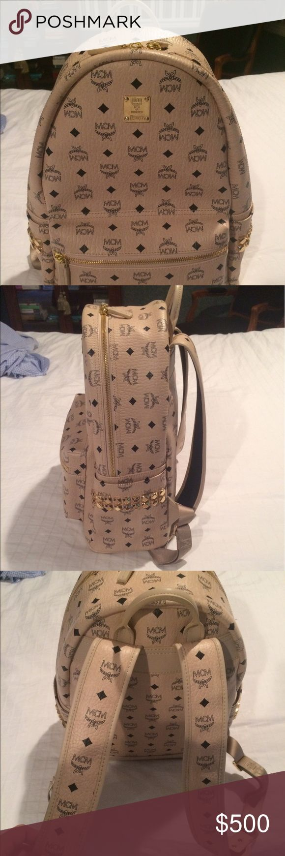 MCM Stark backpack in beige Beautiful MCM Stark backpack in beige, there is a ton of terrible fakes on posh, but this is 100% authentic. Price negotiable to a certain point. Plz serious buyers only MCM Bags Backpacks
