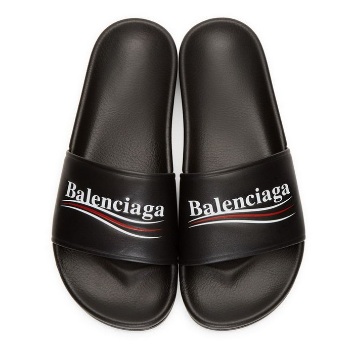 370369593e1d Balenciaga Piscine Flat Sandals Leather Slide Balenciaga Logo Black Street  Styles Sneaker