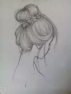 рисунок карандашом девушка с длинными волосами