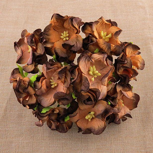 2-TONE CHOCOLATE BROWN GARDENIA FLOWERS