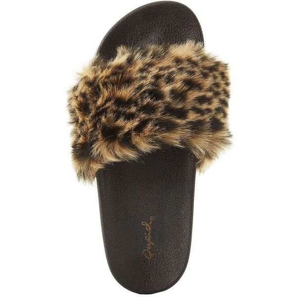 Qupid Leopard Faux Fur Slide Sandals ($18) ❤ liked on Polyvore featuring shoes, sandals, classic leopar, flat shoes, leopard print sandals, leopard print shoes, slide sandals and cushioned flat shoes
