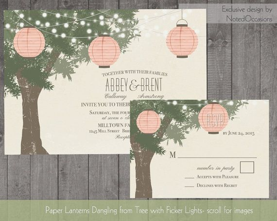 Paper Lanterns in Tree Wedding Invitations- Rustic Country Wedding Invitations with dangling lights- Outdoor Summer and Fall wedding Suite by NotedOccasions, $45.00