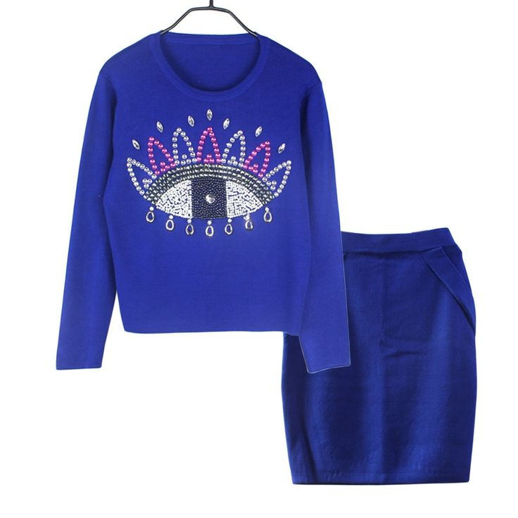 Winter New women set clothing  Hand-made Beading Knit Skirt Suits  Ladies Pullover Crop Top Skirt Suits  Women Suits