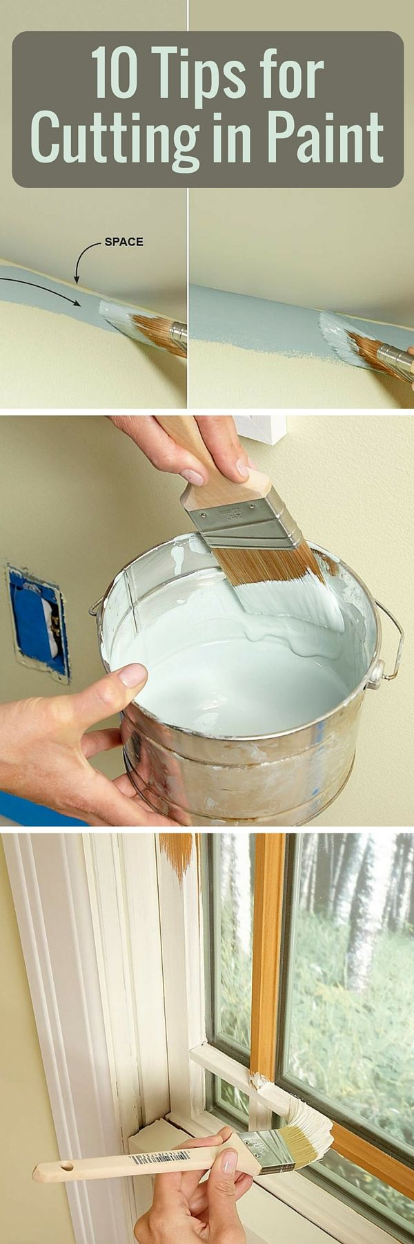 The Best Tips for Cutting in Paint Where beginners run into trouble is cutting in along ceilings, moldings and other areas that require a perfectly straight line of paint. We'll give you some tips and pointers to help you increase the speed and improve the accuracy of your cutting-in technique. http://www.familyhandyman.com/painting/techniques/the-best-tips-for-cutting-in-paint