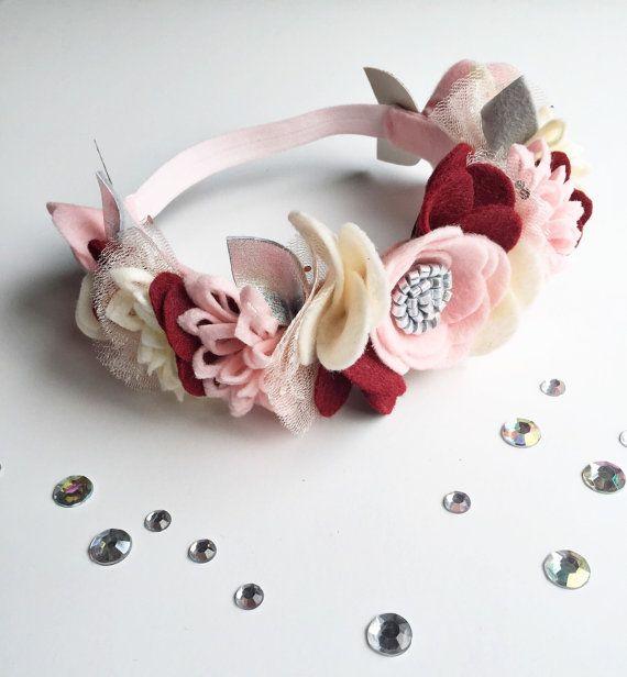 Baby Felt Flower Headband Flower Girl Crown by SweetMimiStudio