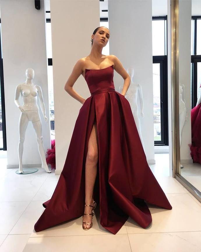 b5e8282a8b02 Sexy Prom Dress,Strapless Satin A-line Prom Dress,Party Gowns,Backless