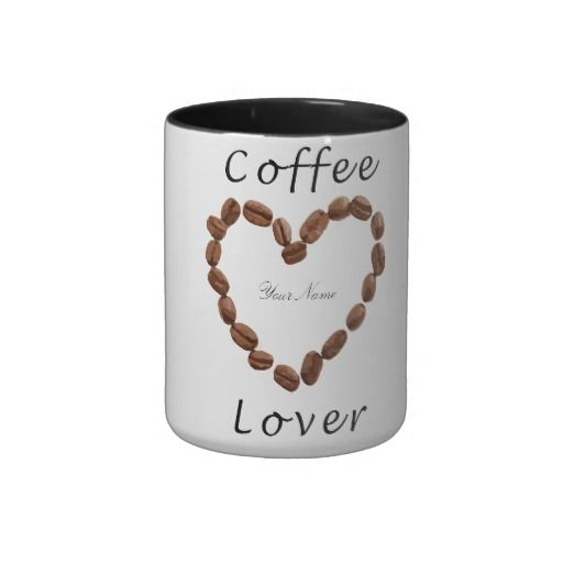 The customizable/personalized Design features coffee beans arranged in a heart shape.  #coffee #coffeelover #ilovecoffee #coffeedrinker #coffeeaddict #customizable #coffeeholics #cappuccino #coffeemug #mug