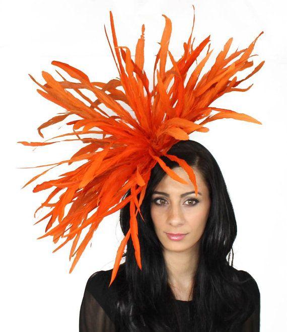Burnt Orange Fascinator Hat For Weddings Races By