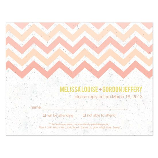 Plantable chevron reply cards