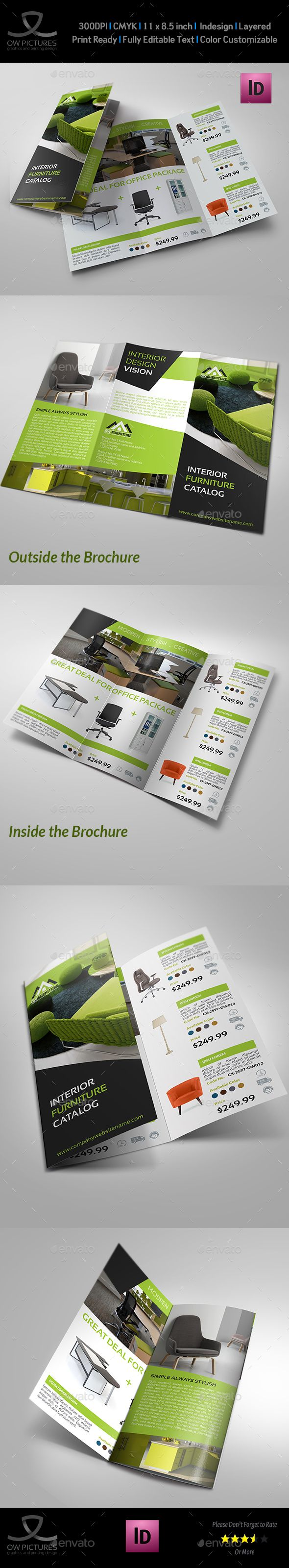 Furniture Products Catalog Tri-Fold Brochure Template InDesign INDD #design Download: http://graphicriver.net/item/furniture-products-catalog-trifold-brochure/13959044?ref=ksioks