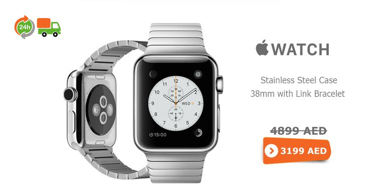 Lowest #online price of #apple #watch 38mm stainless steel case @ AED 445, same day delivery in #Dubai UAE.