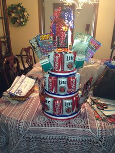 Being crafty for mikes 24th. His miller lite; jack and coke cake!