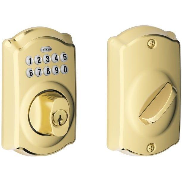 Schlage BE365VPLY505 Camelot Style Keypad Deadbolt, Bright Brass, Silver