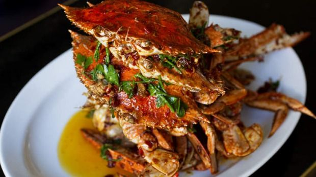 Stir-fried blue swimmer crab with homemade chilli sauce.- Kylie Kwong