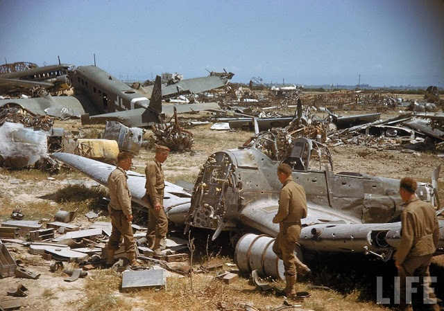 vintage everyday: Color Photos of Tunisia and Libya in the North African Campaign of World War II, 1943 Smashed up Axis aircraft.