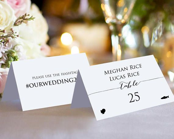 Double sided couples place card template with meal icons instantly download edit and print