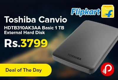 Flipkart #DealofTheDay is offering 24% off on Toshiba Canvio HDTB310AK3AA Basic 1 TB External Hard Disk at Rs.3799. Ease of Use – The SuperSpeed USB 3.0 technology of this hard drive ensures speedy transfer of your files. You just need to plug it into your laptop or desktop and simply drag and drop files into it without having to install any software first.   http://www.paisebachaoindia.com/toshiba-canvio-hdtb310ak3aa-basic-1-tb-external-hard-disk-at-rs-3799-flipkart/