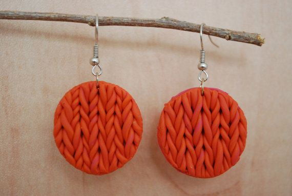 Faux Knit Orange and Pink Circles by CoolMooseJewelry on Etsy