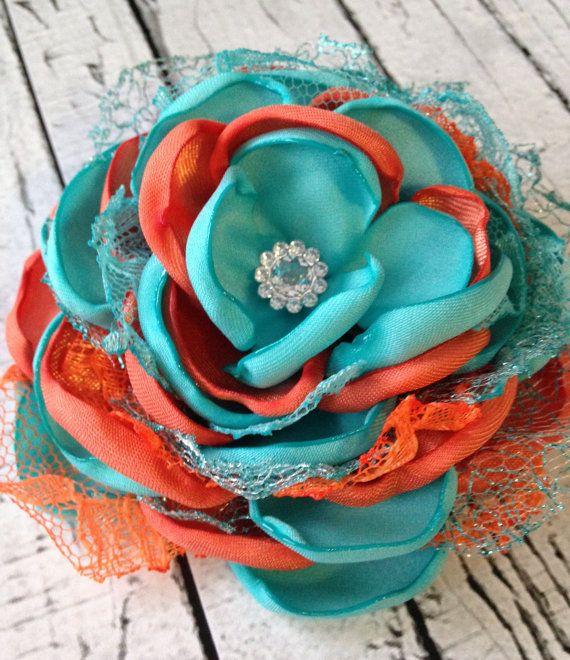 Aqua and orange satin flower, nemo inspired hair bow, satin flower, flower hair accessory, singed flower, flower headband on Etsy, $14.95