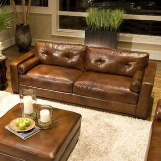Flexsteel Sofa Attached back cushions streamlined shape and durable leather ud love