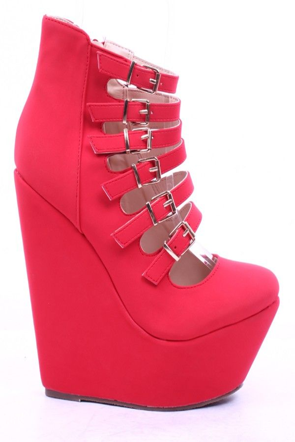 RED STRAPPY MICRO FIBER ROUND CLOSED TOE WEDGE,Womens Wedge Shoes For Sale-Heels Wedges,Suede Wedges,Lace Up Wedges,Platform Wedges Shoes,Cutout Wedge Shoes,Sneaker Wedges,Booties Wedges,Cheap Wedge Sandals Shoes,Studded Wedges,Spiked Wedges,Strappy Wedges Shoes Online