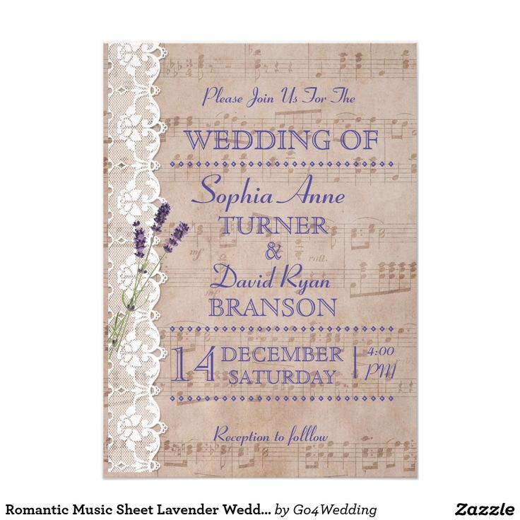 Romantic Music Sheet Lavender Wedding Invitations