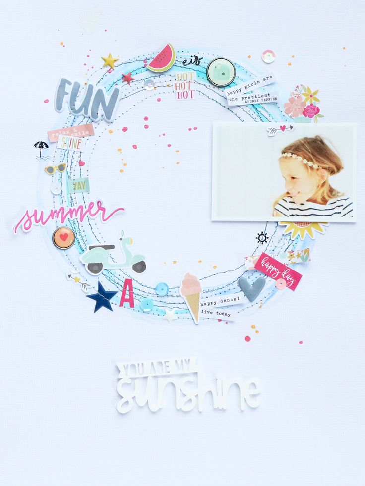 "Layout ""You Are My Sunshine"" Steffi Ried #papercraft #scrapbooking #ellesstudio…"