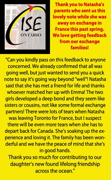 We love getting feedback from our exchange families!